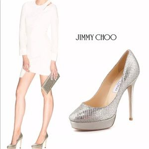 Jimmy Choo Alex Champagne Glitter Fabric Pump 37